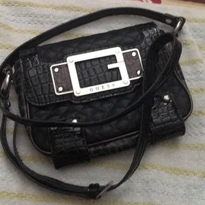 Authentic Guess Black Alligator Leather Crossbody